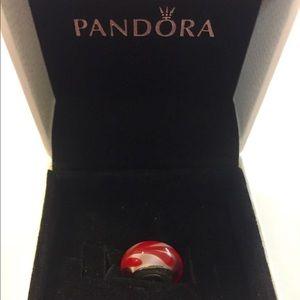 Pandora Red Swirl Charm Bead